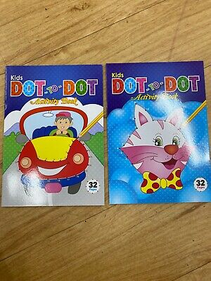 2 x Dot to Dot Books Kids Colouring Book Children Activity Fun Party 64 Pages