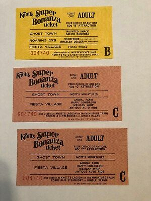 """3 Knotts Berry Farm Adult """"B"""" Ride Tickets With The Same Serial Numbers - 6309"""