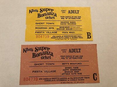 """2 Knotts Berry Farm Adult """"B"""" Ride Tickets With The Same Serial Numbers - 6308"""
