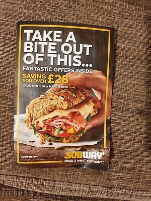 Subway Food Coupons vouchers valid to 31/03/2020 Discount £28