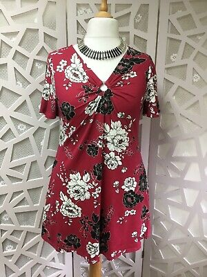 NEW Ex Yours Plus Size 16-32 Poppy Print Red Black Floral Tunic Top Blouse