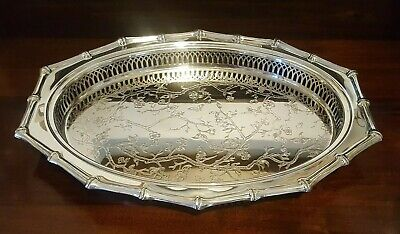 Vintage Viners Silver Plate Oval Serving Tray Chinese Theme Blossom Butterflies