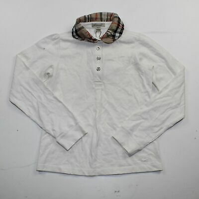 Burberry White Girls Check Collar Pique Long SleevePolo Shirt Size 10 Y/ 140 Cm