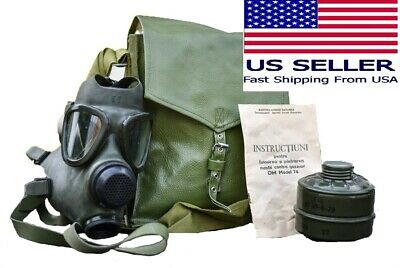 Military Surplus Full Face Gas Mask Respirator MC-1 w 40mm Filter & Bag New NOS