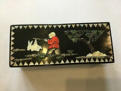 Vintage Chinese Lacquered Box with Hand Inlay Mother of Pearl & Agate Decoration