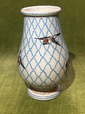 Chinese Asian oriental style vintage Porcelain Bird vase Pottery Stamped