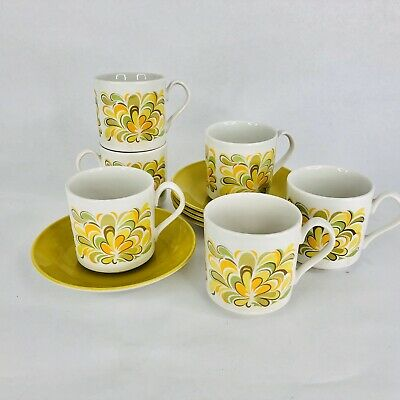 5 Johnson Bros Sun Valley Flat Cup and Saucer Sets Foral Ironstone England Tea