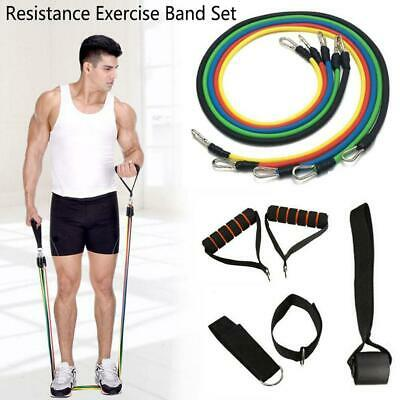 11x Durable Resistance Exercise Band Yoga Pilates Abs Fitness Tube Workout Bands