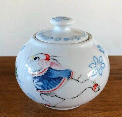 Paul Cardew Alice Wonderland White Rabbit Ice Skating Late Sugar Bowl W/Lid EUC!