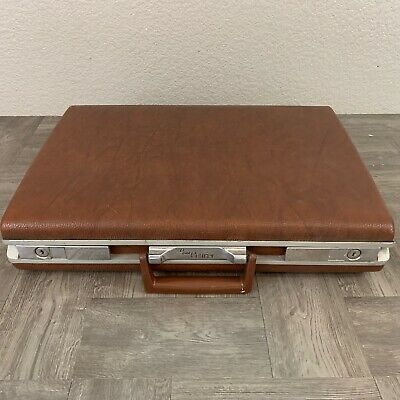 Vintage Sears Courier Hard Shell Brown Slim Briefcase Mad Men Cosplay James Bond