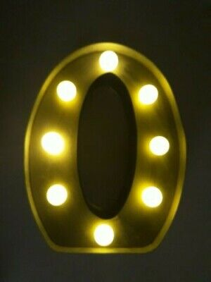"""Vintage Style Metal Light Up Letter """"O"""" Free Standing Or Wall Hanging"""