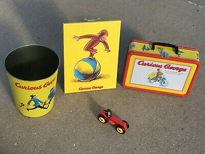 Curious George Waste Basket, Wall Hanging, Large Metal Lunch Box, Wood Car