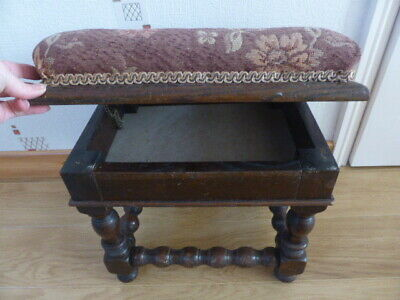 VINTAGE/ANTIQUE POUFFE STORAGE BOX STOOL/SEAT,OPENING LID &brown cushion top
