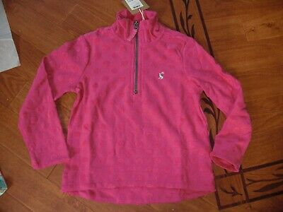 Bnwt Girls Joules Half Zip Fairdale Bright Pink Sweatshirt Age 3 Yrs.rrp £22.95