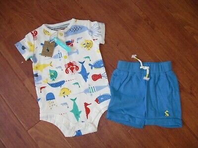 *BNWT* Baby Joules Infant Boys Doodle T-Shirt and Trousers Set Blue Green Stripe
