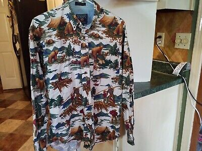 VINTAGE CHAPS. Ralph Lauren Mens Med button down all over print logo,Hunting ,