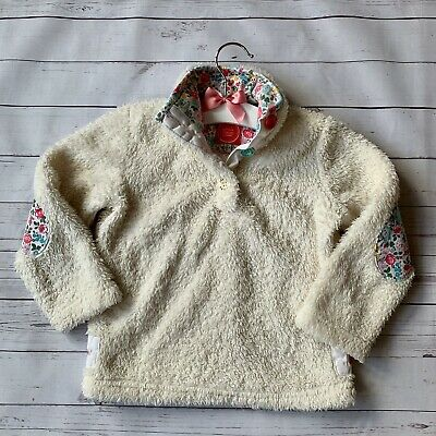 Baby Girls 3 Years - Fleece Jumper - JOULES White Fluffy Floral Soft Warm