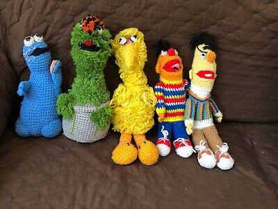 Sesame Street Crochet Big Bird Ernie Bert Oscar Cookie Monster Vintage
