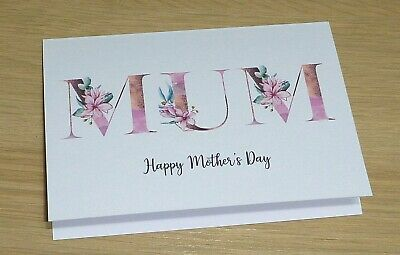 Mother's Day Card - Magnolia monogram - rose gold Mum grandma nan - handmade