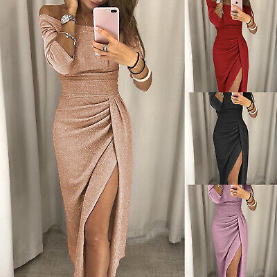 Womens Boat Neck Glitter Dress Long Sleeve High Split Perspective Party Dresses