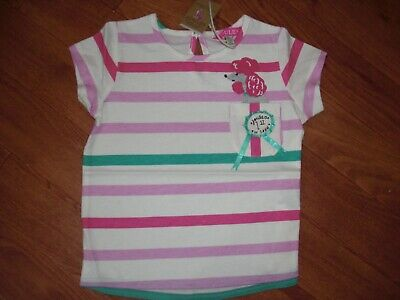Bnwt Joules Girls Maggie Stripe Poodle 1St In Show Dog T-Shirt Top Age 4 Yrs.