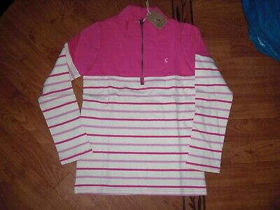 Bnwt Girls Joules Half Zip Fairdale Pink Stripe Sweatshirt 11-12 Yrs.rrp £25.95