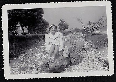Vintage Antique Photograph Woman Sitting on Huge Piece of Driftwood on Beach