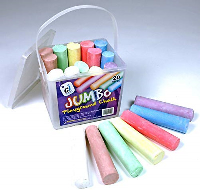 ASSORTED COLOURS BUMPER 52pc BUCKET OF JUMBO PLAYGROUND//PAVEMENT CHALK