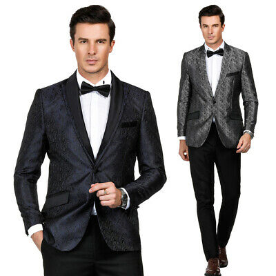 Mens One-Button Jacquard Blazer Tuxedos Formal Groom Wedding Party Coat Suits