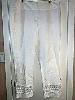 Women's Pants Alfani Floral Trim Ankle Slim Leg White Plus Size 16W NWT $85