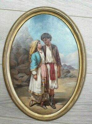 Very Fine Antique Oil Painting of Lovers 19th Century.