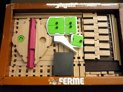 """VINTAGE Construction Set of Massive Wood """"FARM"""" by JeuJura made in France, 2,2 k"""