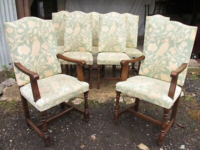 Set of 8 17th century style oak upholstered high back dining chairs (ref 803)