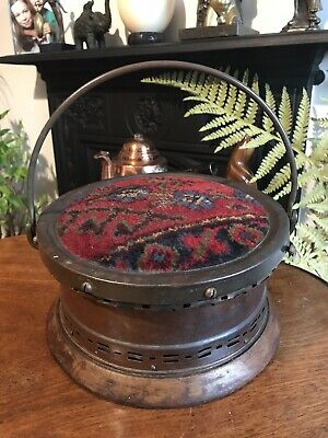 Antique Copper, Brass And Wood Foot Warmer With Tapestry Top