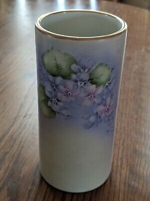 Porcelain Vase With Hand Painted Floral Design And Gold Trim, Signed