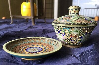 FINE Chinese Cloisonné FLOWERS PATTERN HAND MADE WARE TEA CUP WITH LID