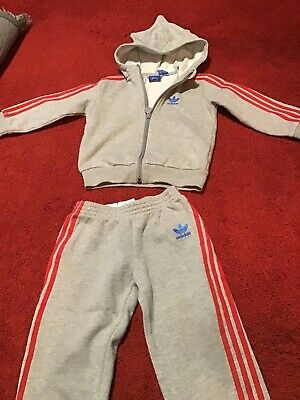 adidas tracksuit age 3-4 Unisex Grey With Red Detail