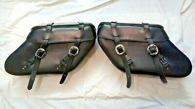 Harley Davidson Dyna detachable hard leather luggage saddle bags with pouches