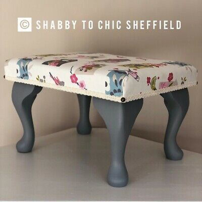 Beautiful Restored Shabby chic footstool With Birdhouse Fabric & Queen Anne Legs