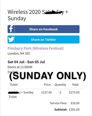 Wireless Festival 2020 - Sunday Day Ticket *ORDER CONFIRMED*