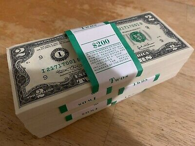 5 Crisp 2003 Uncirculated Usa $2 Two Dollar Bill Note Sequential Order New Rare!