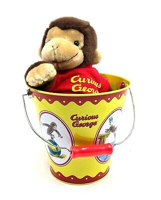 RARE Curious George Combo Tin Pail / Bucket by Schylling with Plush