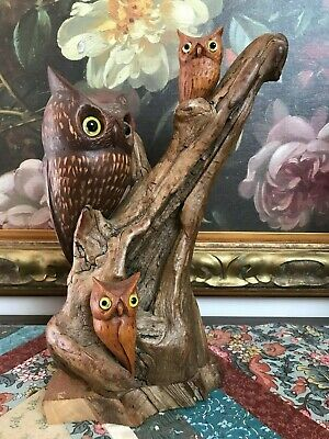 """50's Mother & Baby OWLS Tree Wood Statue Hand Carved Signed Art 12"""" Glass Eyes"""