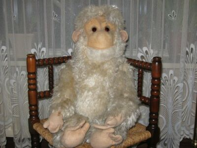 Old Antique German White Grey Monkey Artificial  Plush 28.7 Inch 73 CM 1920s