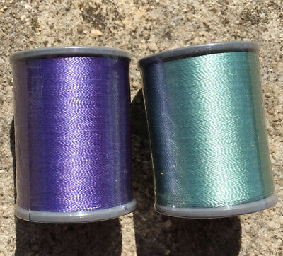 """2pk BROTHER """"Mint Green + Lilac Purple"""" Quality Satin Machine Embroidery Threads"""