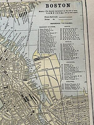 """1892 BOSTON Map 13.5 x 11"""" Colored Map w/ Historical Points of Interest"""