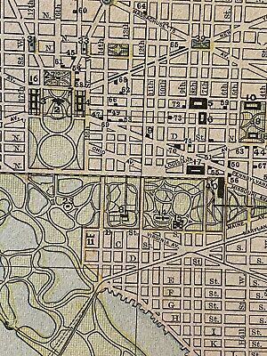 """1892 WASHINGTON, DC Map 13.5 x 11"""" Colored Map w/ Historical Points of Interest"""