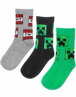 Minecraft Creeper Face Assorted 3 Pack Grey Green Black Boy's Kids Socks