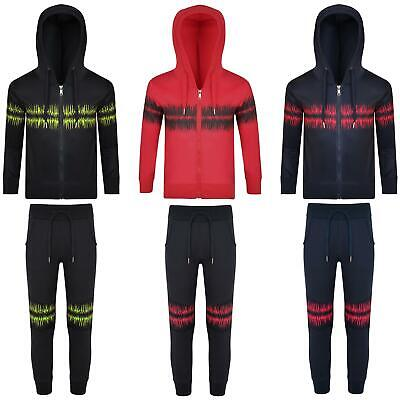 Kids Cardio Print Tracksuit Hooded Jumper Top Boys Girls Jogging Bottoms 3-14 Y