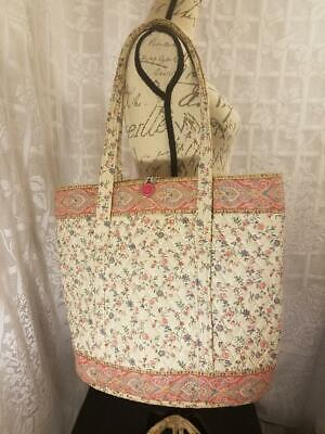 Vintage Vera Bradley 1985 Cream Large Travel Tote & Clothes Garment Bag 2 Pc Set
